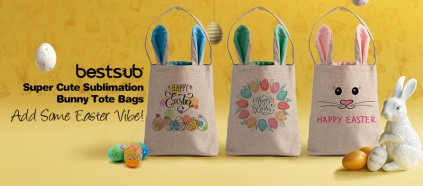 Add Some Easter Vibe with Super Cute Sublimation Bunny Tote Bags!