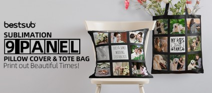 Print out Beautiful Times on Sublimation 9 Panel Pillow Cover & Tote Bag!