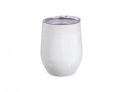 12oz/360ml Glitter Sparkling Stainless Steel Stemless Cup (White)