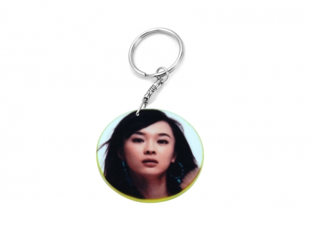39mm Round Plastic Keychain(Color Edge)