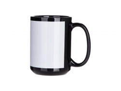 15oz Sublimation Full Color Mug with White Patch-Black