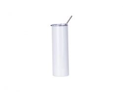 Sublimation 30oz/900ml Stainless Steel Skinny Tumbler w/ Straw & Lid (White)