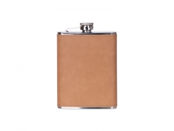 Sublimation 8oz/240ml Stainless Steel Flask with PU Cover (Light Brown)