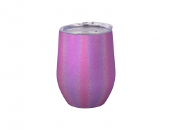 12oz/360ml Glitter Sparkling Stainless Steel Stemless Cup (Purple)