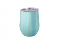 12oz/360ml Glitter Sparkling Stainless Steel Stemless Cup (Light Blue)