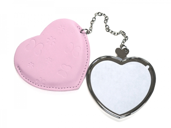 Sublimation Heart Hand Mirror with Leather Case